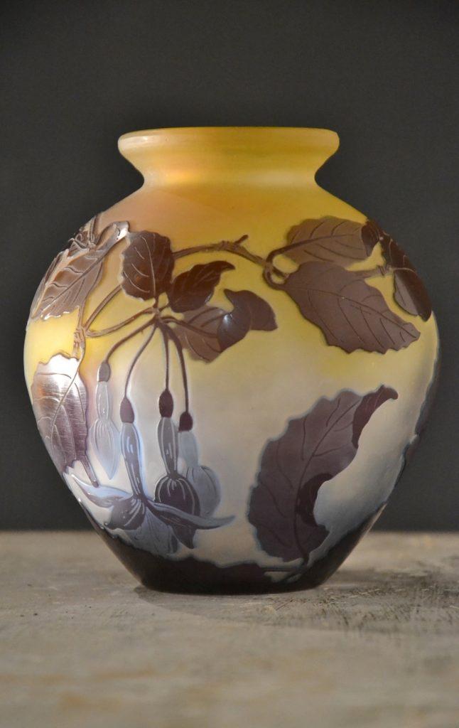 Antiquaire brocanteur vase Émile GALLE pate de verre art nouveau nancy daum ancien