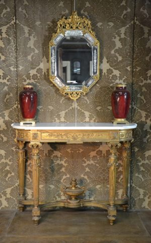console bois doré ancienne xixème siècle 19ème napoléon III Louis XVI néo-classique néoclassique