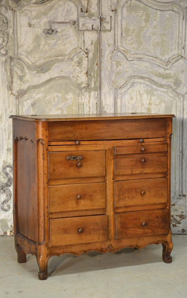 commode louis xv noyer meuble métier tiroirs ancien 18ème siècle à vendre