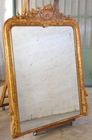 miroir ancien glace mercure doré or louis philippe fronton bois stuc fleurs ruban acanthe 19ème xixème salle des ventes rennes estimation drouot