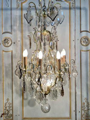Lustre cage bronze cristal Louis XV pendeloques