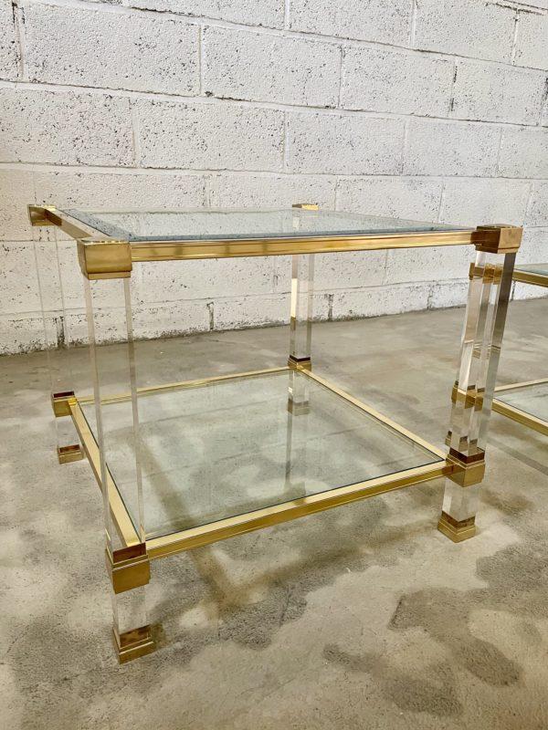Pierre vandel altuglass table basse verre plexiglass doré estimation expertise