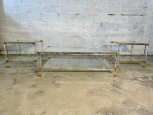Pierre vandel table basse appoint plexiglass altuglass altuglass doré laiton