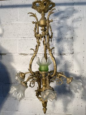 lustre en bronze doré Napoléon III ancien