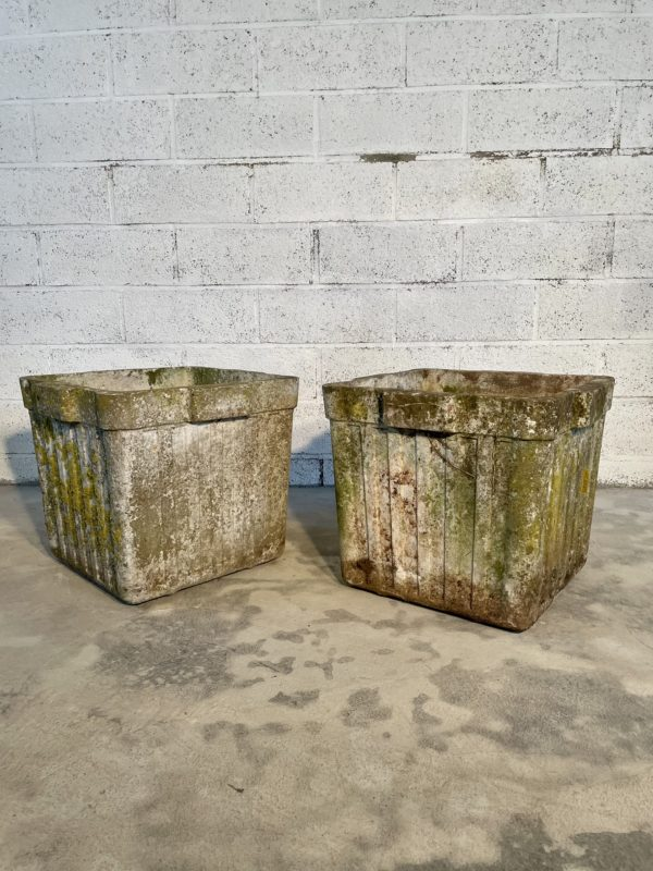 Pair of planters Willy Guhl eternit fibro cement old square